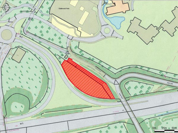 Plan of 1.5 acre freehold site near Junction 4A of M3